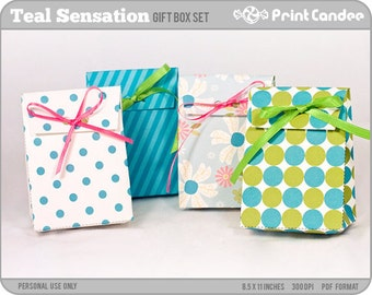 70% OFF SALE! - Teal Sensation - Printable Party Favor Boxes / Party Favor Set - Personal Use Only - Printable - DIY
