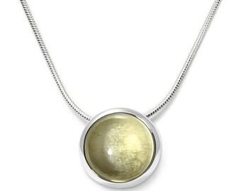 Lemon Quartz Necklace, 925 Sterling Silver. , color yellow, weight 4.9g, #46043