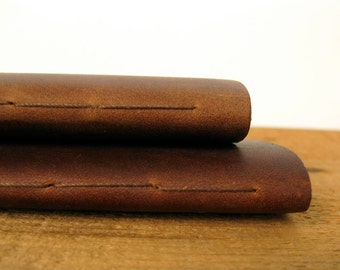 "Leather Notebooks / Pocket Size Leather Journals, Set of 2,  the ""Pascale"""