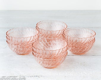 12 Vintage Pink Glass Dessert Bowls - Pale Pink Glassware - Small Blush Pink Glass Bowls - Pink Berry Bowls - Blush Glassware