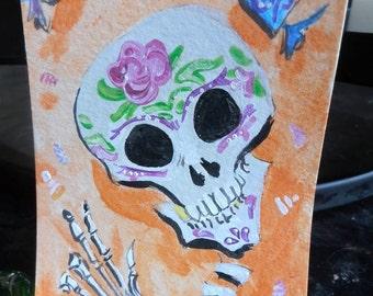 Sugar Skull!  Original Art.  Miniature Painting  ACEO Art card