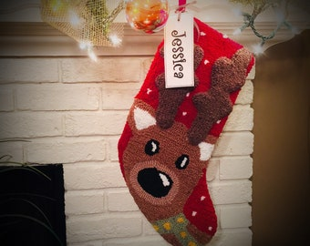 Cute Reindeer Personalized Christmas stocking, Hooked Christmas stockings, Christmas stocking, Reindeer stocking, Family Christmas stockings