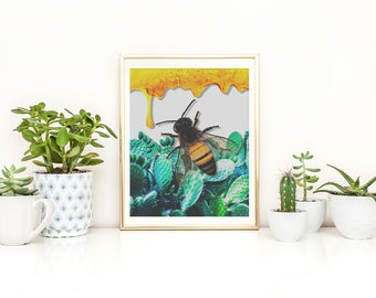 Honey Bee Print, Honey Bee Poster, Honey Bee Wall Art, Cactus Print, Cactus Wall Art, Cactus Poster, Nature Print, Nature Wall Art, Bug Art