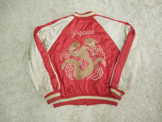 Dragon Tiger Red JAPAN Item Embroidered SUKAJAN 90's Vintage RARE Logo CUBwqYC