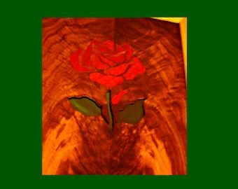 Rose Portrait in bloodwood walnut and stained glass Gift Under 100 Dollars