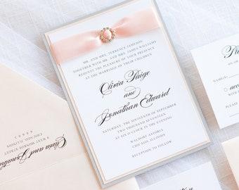 Elegant & Formal Wedding Invitation with Satin Ribbon and Rhinestone Embellishment - The Dazzling Suite - Elegant, Formal, and Glamorous