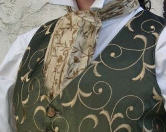Cream and Bronze Embroidered Silk Cravat
