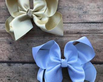 Gold Hair Bow - Gold Bow - Gold Hairbow - Silver Hair Bow - Silver Bow - Metallic Bow - Silver Hairbow - Gold - Silver - Shimmer Hair Bow