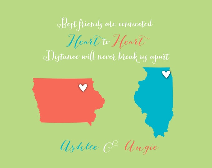 Christmas Best Friend Moving Gift Farewell Best Friend Long Distance Print, Gift Friend, Custom Maps, Mom, Sister, Daughter Green Coral Blue