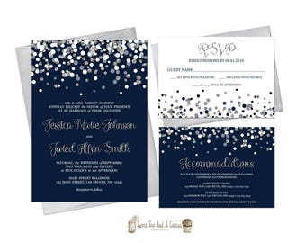 Navy Blue and Silver Wedding Invitation Suite Printable Digital File or Prints RSVP card and accommodations card white and silver glitter