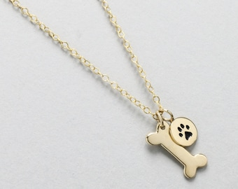 Dog Bone Necklace, Dog Paw Necklace, Gold Dog Bone, Pet Jewelry, Dog Tag Necklace, Small Dog Bone, Animal Lover Jewelry, Dog Memorial Gift
