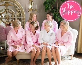 COTTON WAFFLE ROBE - Blush Cotton Robe - Bridesmaid Robes - Waffle Cotton Robe - Bridal Party Robe - Cotton Wedding Robe - Bridesmaid Gifts