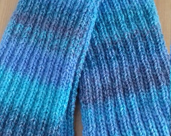 Blue Hand Knitted  Scarf