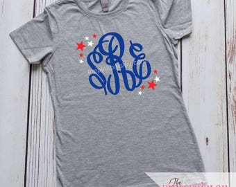 Girls Monogrammed 4th of July Shirt | Patriotic Personalized Girls Shirt | Personalized t-shirt | Kids 4th of July | Child 4th of July |