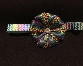Rainbow Cheetah Flower Bow