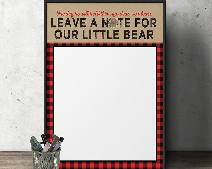 Lumberjack Baby Shower sign //  Buffalo Plaid Woodland Baby Shower // Lumberjack sign // Rustic Gender Neutral //  Bear // birthday sign