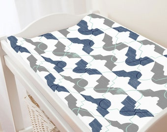 Carousel Designs Denim and Gray Modern Quatrefoil Changing Pad Cover