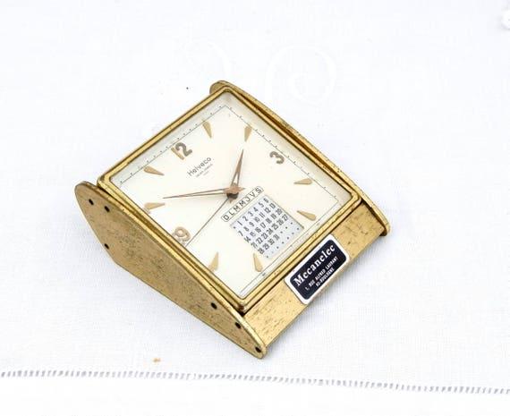 Working Vintage Swiss Helveco Mid Century 7 Jewels Gold 1950s Mechanical Desk Clock Perpetual Calendar, Retro Wind-up Desk Clock Switzerland