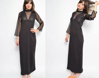 Vintage 80's Glossy Black Maxi Dress / Sheer Sleeve Long Dress - Size Medium