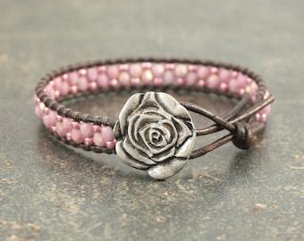 Pink Rose Bracelet Beaded Leather Rose Jewelry Silver Pink Leather Wrap Bracelet
