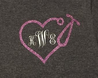 Monogrammed Stethoscpoe//Nursing Shirt//