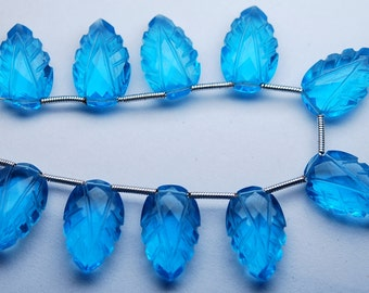 8 Inch Strand,Matched Pairs,Swiss Blue Quartz Carving Faceted Pear Shape Briolettes,10x16mm