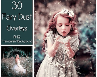 30 Fairy Dust Overlays - PNG - Transparent Background -  Sparkle Clip Art - Glitter Overlay - Angel Dust - Star Dust - Magic Lights Overlay