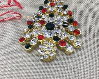Magnetic Needle Minder, Christmas tree needle minder, rhinestone needle minder, needle keeper, needle nanny