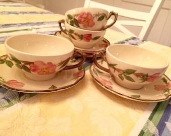 Franciscan Cups and Saucers Desert Rose Set of 4 Hand Painted Cups & Saucers Marked Made in California USA