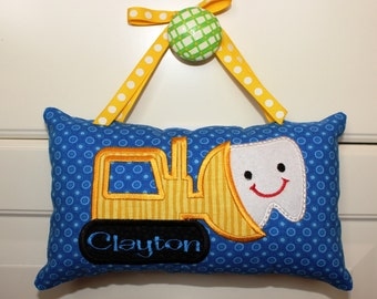 Tooth Fairy Pillow, Boy's or Girl's Personalized Tooth Fairy Pillow, appliqued bulldozer design, free note from tooth fairy included