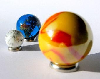 Solar Eclipse Glass Marble Set - Sun, Earth & Moon - World Planet Gaea Terra