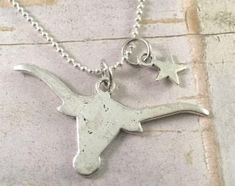 Longhorn necklace, Texas necklace, UT Texas Longhorn charm necklace, Lone Star Necklace, Bull necklace, Country girl, cowboy,  Ranch