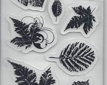 Rubber Cling Stamp Leaves by Heidi Grace - Kitsnbitscraps