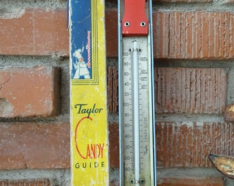 1940's Taylor Candy Thermometer,  Vintage Candy Making Guide in Original Box, Late 40's Candy Baking Aid, Great Mid Century Decorative Piece