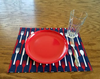 Placemats, Table Mats, Novelty, Utensils, Forks, Spoons, Knives, New Home Gift, Wedding Gift, Handmade, Colorful