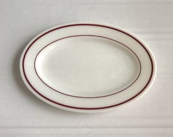 6 Pyrex Steak Platters Plates - White Milkglass - Double Red Stripe - Ruby Band - Maroon - Restaurant Ware - 953-36 - Tableware