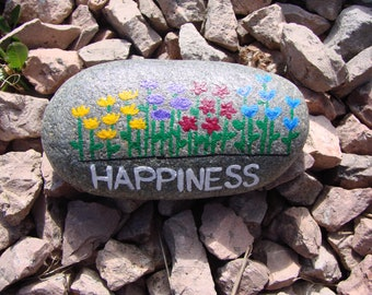 Happiness - hand painted pebble