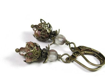Vintage Style, Flower Earrings, Czech Glass, Antiqued Brass, Petite Dangle Earrings, Feminine Jewelry, Gifts for Her, Womens Accessories