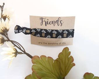 Pineapple Print Fold Over Elastic Hair Tie Party Bachelorette Favor