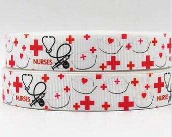 "Nurses Grosgrain 7/8"" Printed Ribbon"