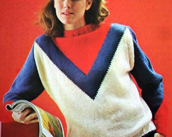 Sweater Knitting Pattern Size 38 / 40 DK Weight Yarn French Teen Children Vintage Paper Original NOT a PDF