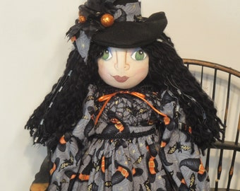 OOAK witch art doll, handmade Halloween witch cloth art doll, 28 inch Halloween collectible witch whimsical witch cloth doll