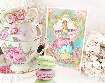 Marie Antoinette happy birthday card, with cake and bunting, blank inside