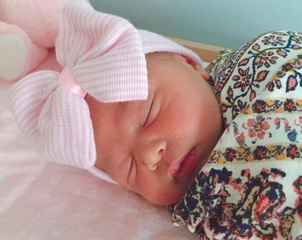 Newborn Baby Hospital Bow Hat / White baby bow hat / Pink Baby Bow Hat