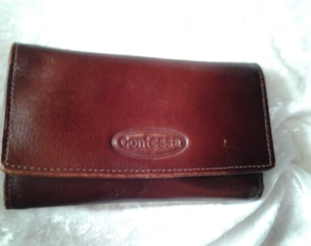 FREE POSTAGE -Vintage  Leather Purse Contessa with Multiple Compartments -Dark Burgundy -  Made India