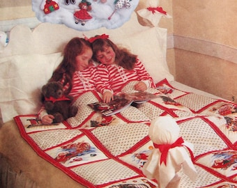 Christmas Comforter, Ornaments, Wreath And Advent Calendar Simplicity Crafts 8215 Vintage Uncut Sewing Pattern 1987