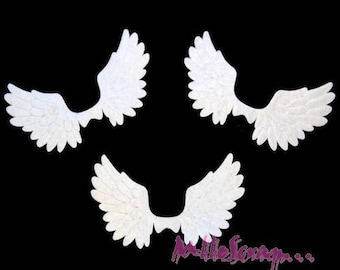 Set of 6 white wings fabric embellishment scrapbooking card making (ref.310). *.
