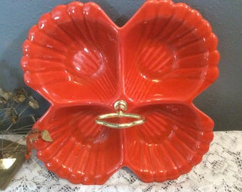 Vintage pretty orange snack / dip / salad dressing / dish