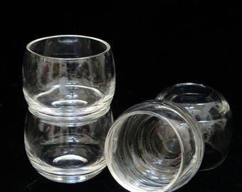 Roly Poly Set, Mid-Century, Mad Men, Clear Glass, Barware, Tip Proof