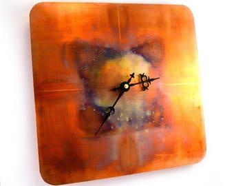 Copper Wall Clock, Wall Decor, Celestial Wall Art, Steampunk Clock, One of a Kind Clock, Distressed Clock, Orange Clock, Bright Clock
